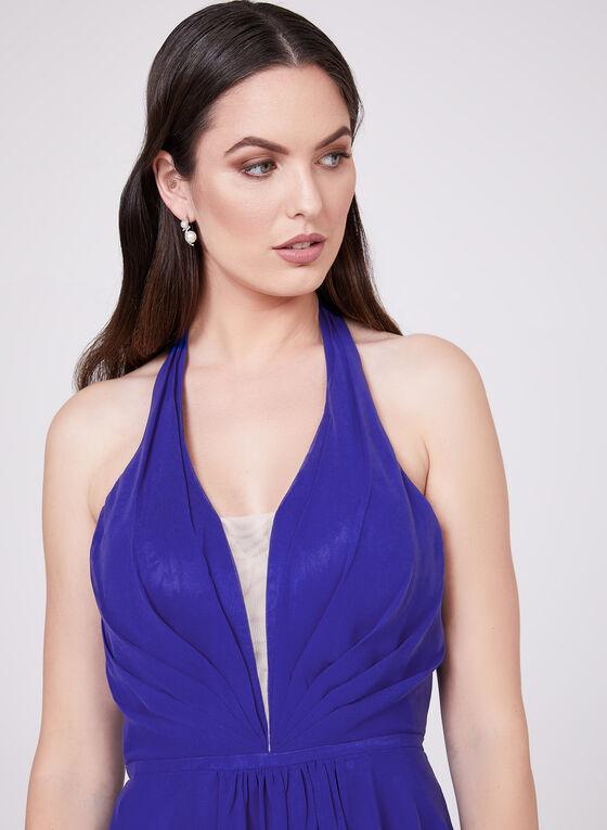 Cachet - Halter Neck Chiffon Dress, Blue, hi-res