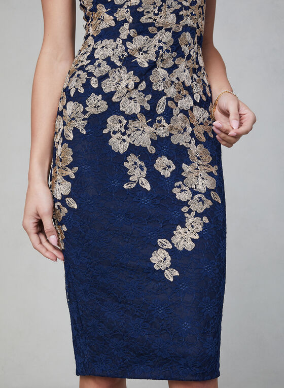 BA Nites - Floral Lace Midi Dress, Blue