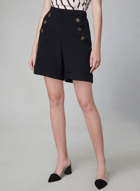 Button Front Shorts, Black, hi-res