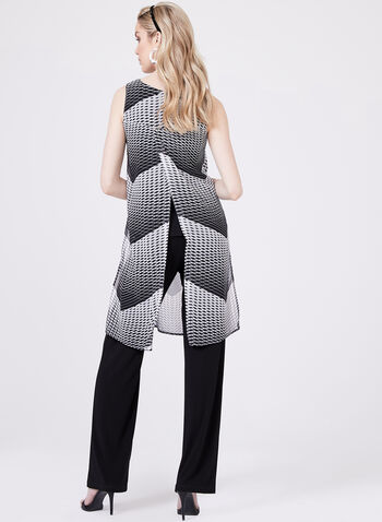 Geometric Print Sleeveless Blouse, Black, hi-res