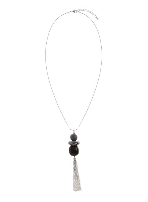 Three-Tier Tassel Necklace , Black, hi-res