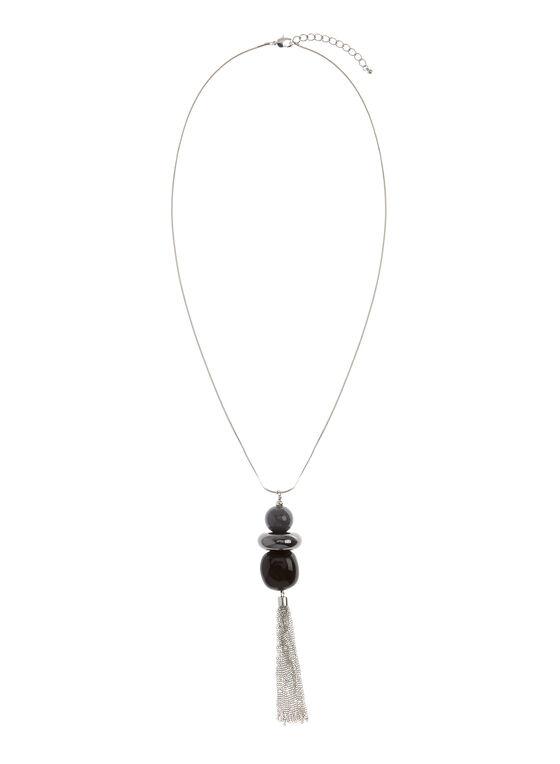 Collier pendentif géométrique et pompon chaînons, Noir, hi-res