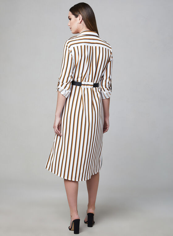Stripe Print Shirt Dress, Yellow