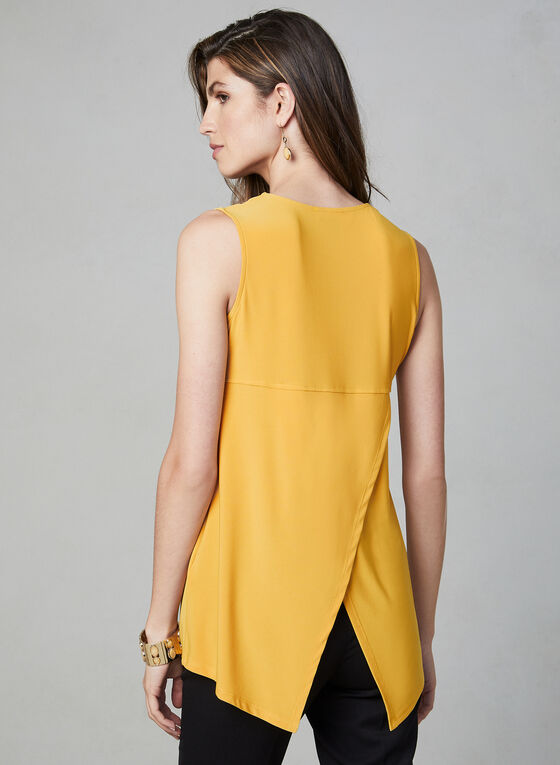 Sleeveless Zipper Detail Top, Gold
