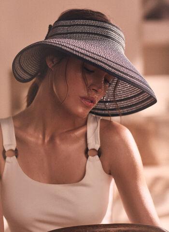 Capeline sans fond en paille rayée, Noir,  chapeau, capeline, paille, motif rayé, sans fond, noeud, velcro, printemps été 2021