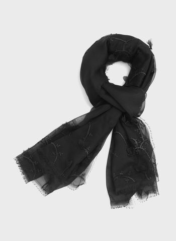 Floral Embroidered Chiffon Scarf, Black, hi-res