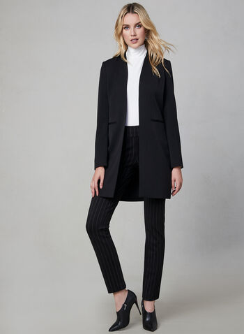Long Redingote Jacket, Black,  lined, shoulder pads, long sleeves, fall 2019, winter 2019
