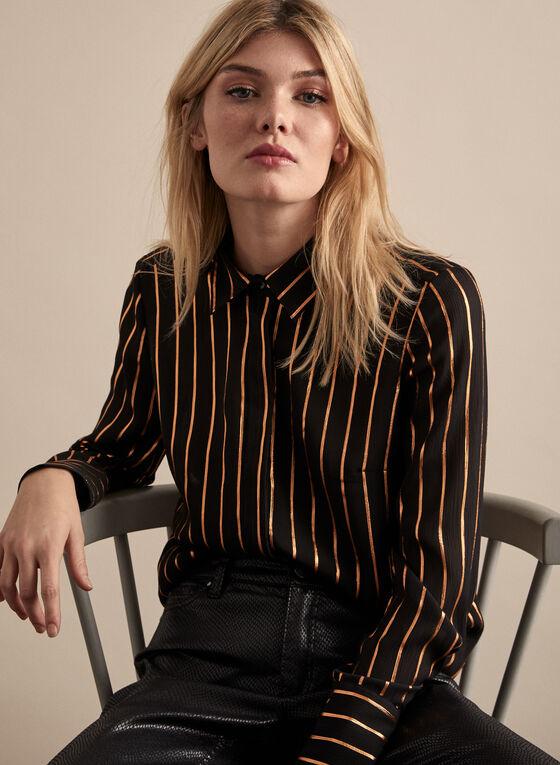 Metallic Stripe Print Blouse , Black