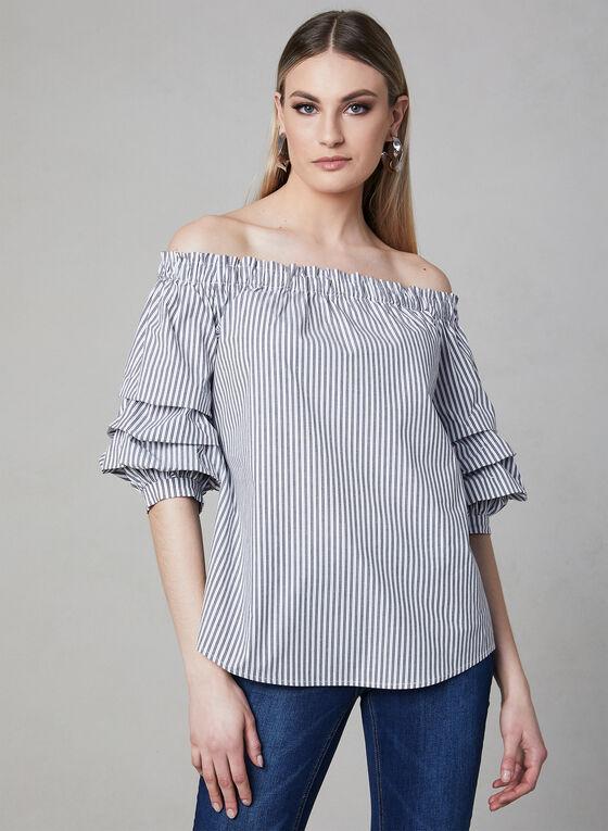 Stripe Print Off-the-Shoulder Top, White, hi-res
