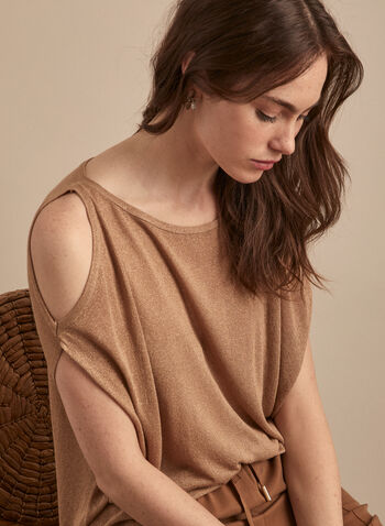 Cold Shoulder Metallic Sweater, Brown,  sweater, cold shoulder, scoop neck, short sleeves, metallic, jersey, spring summer 2020