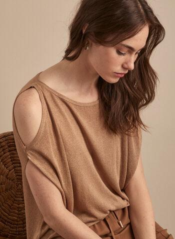 Pull à épaules ajourés en fibres métallisées, Brun,  pull, épaules ajourées, fibres métallisées, lurex, manches courtes, col dégagé, printemps été 2020