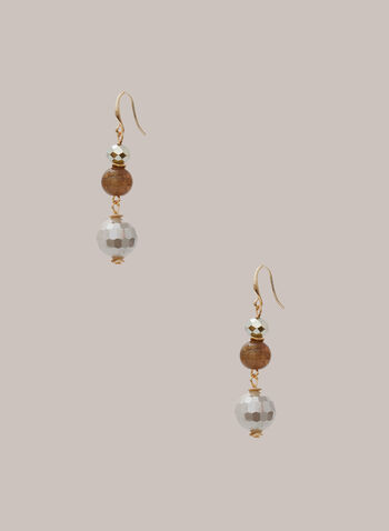 Faceted Stone Dangle Earrings, Grey,  fall winter 2020, earrings, faceted, stones, dangle, metal
