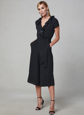 Maggy London - Polka Dot Print Jumpsuit, Black, hi-res,  faux wrap, cropped, wide leg, spring 2019