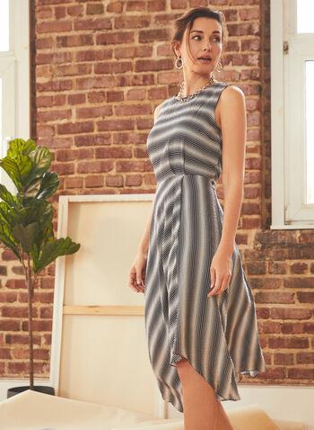 Vince Camuto - Stripe Print Day Dress, Blue,  dress, day, stripe, sleeveless, asymmetrical, spring summer 2021