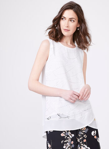 Vex- Sleeveless Crepe Blouse, Off White, hi-res