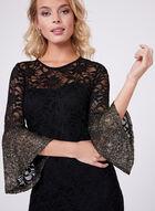 ¾ Sleeve Floral Lace Dress, Black, hi-res