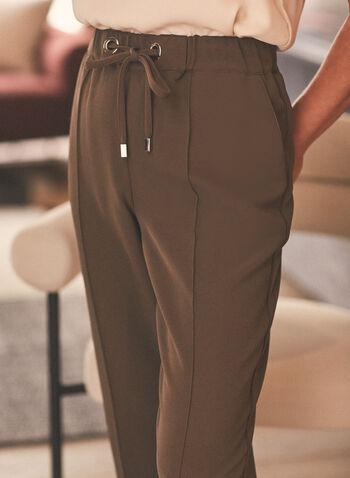 Slim Leg Drawstring Pants, Green,  pants, slim leg, drawstring, pull-on, elastic waist, pleats, pockets, piping, stretchy, spring summer 2020