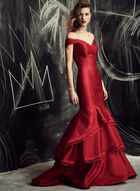 Xscape - Off The Shoulder Layered Mermaid Gown , Red, hi-res