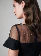 Karl Lagerfeld Paris - Robe à encolure illusion et perles, Noir, hi-res