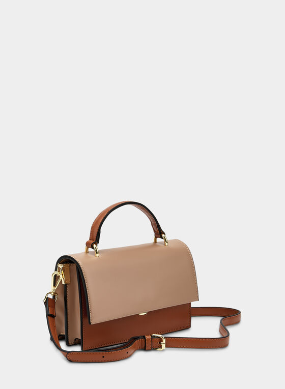 Contrast Flapover Satchel , Brown