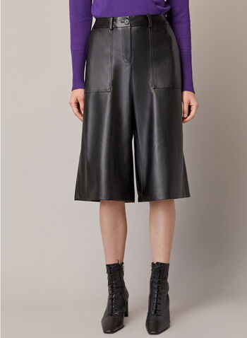 Vegan Leather Wide Leg Pants, Black,  fall winter 2020, wide leg, pants, pockets, faux leather, vegan leather