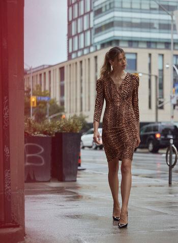 Snake Print V-Neck Dress, Brown,  dress, snake print, v-neck, sheath, cocktail, wrap, crossover, fall winter 2020