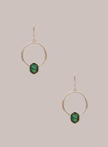 Faceted Stone Hoop Dangle Earrings , Green,  fall winter 2020, accessories, jewellery, earrings, hexagon, dangle, hoop, stones