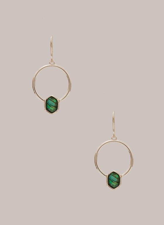 Boucles d'oreilles à anneaux et pierres, Vert