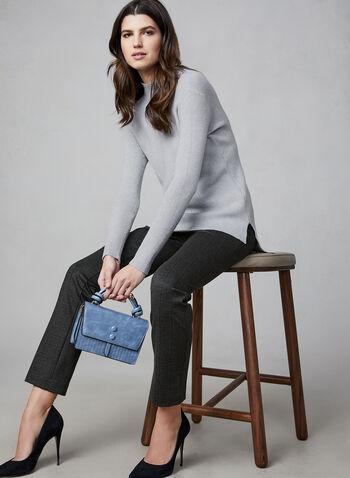 Pantalon taille pull-on à carreaux, Noir,  pantalon, pull-on, jambe étroite, motif, motifs, imprimé, imprimés, automne hiver 2019