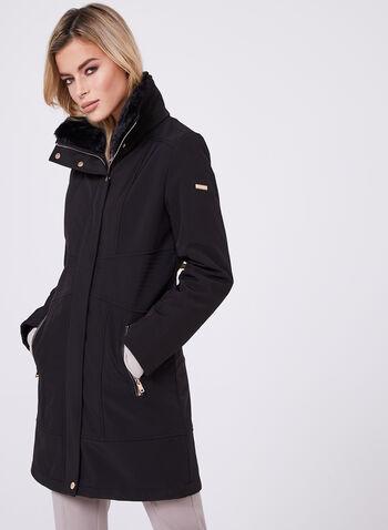 Novelti - Faux Fur Collar Softshell Coat, Black, hi-res