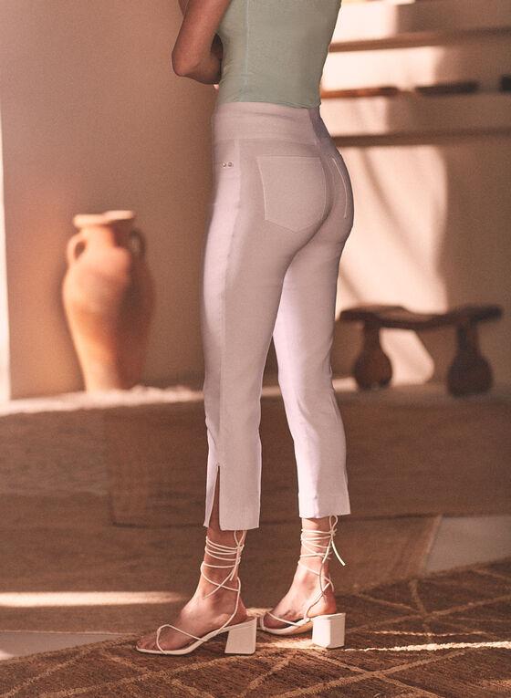 Zipper Hem Pull-On Capris, White