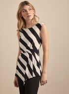 Stripe Print Asymmetric Top, Black