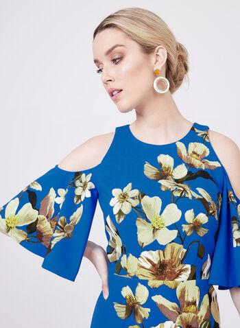 Maggy London - Cold Shoulder Bell Sleeve Dress, Blue, hi-res