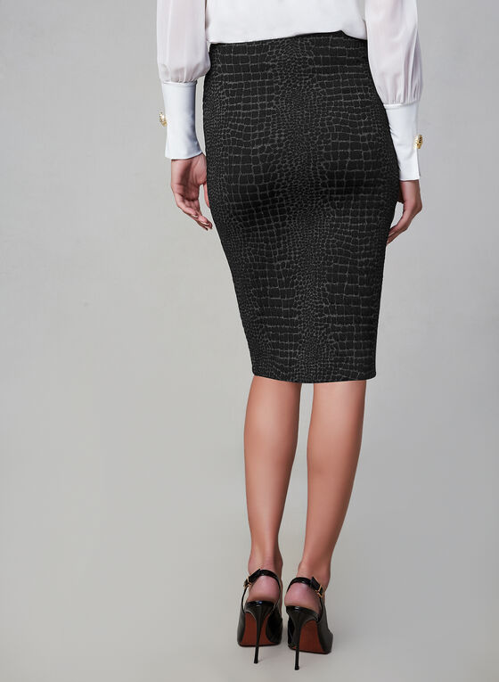 Crocodile Print Skirt, Black