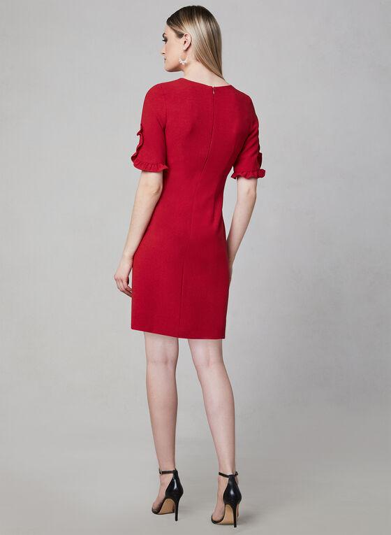 Karl Lagerfeld Paris - Robe en crêpe à manches coude, Rouge, hi-res