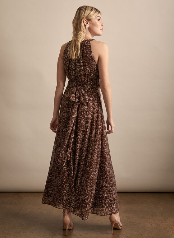 Adrianna Papell - Dot Print Maxi Dress, Brown