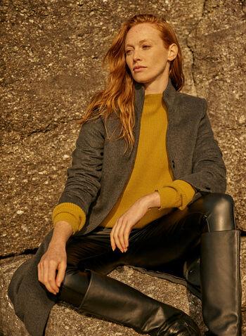 Manteau mi-long en laine mélangée, Gris,  manteau, mi-long, boutons, poches,laine, automne hiver 2020