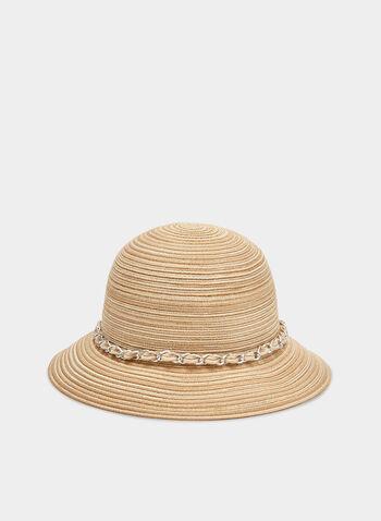 Chapeau cloche en paille à détail chaîne, Blanc cassé,  chapeau cloche, paille, chaîne, printemps 2019