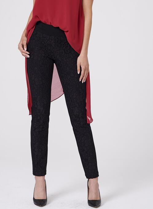 Pantalon Madison pull-on jambe étroite et dentelle, Noir, hi-res