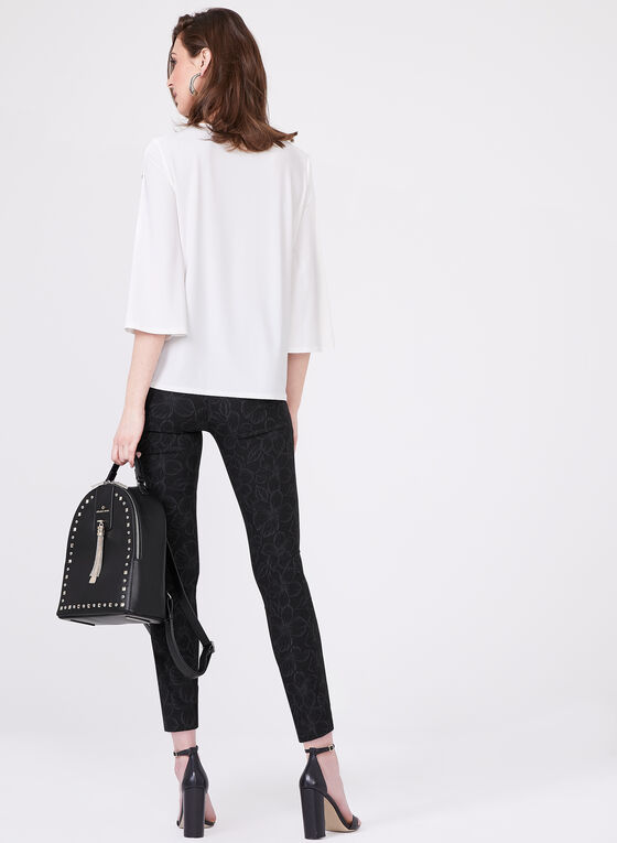 Bell Sleeve Snap Detail Top, Off White, hi-res