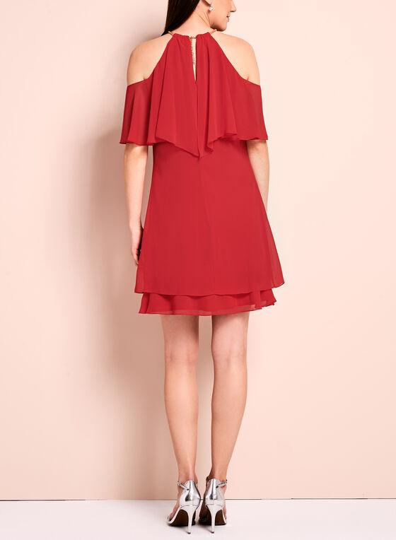 Ruffle Trim Cold Shoulder Dress, Red, hi-res
