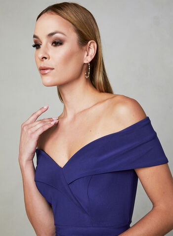 BA Nites - Off The Shoulder Dress, Blue, hi-res,  sweetheart, slit, spring 2019