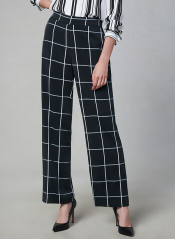 Windowpane Wide Leg Pants, Black, hi-res,  wide leg, pull-on, plaid, windowpane, fall 2019, winter 2019