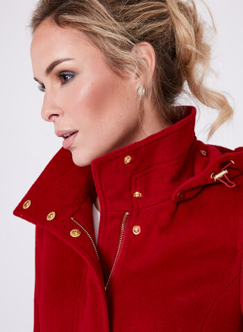 Ellen Tracy - Belted Wool Blend Coat, Red, hi-res