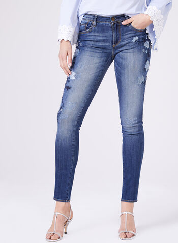 Driftwood – Distressed Embroidered Slim Leg Jeans, Blue, hi-res