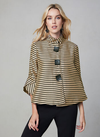 Joseph Ribkoff - Stripe Print Jacket, Black,  Stripe print, tulip sleeves, stand collar, large square buttons, Made in Canada, fall 2019, winter 2019