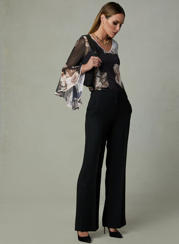 Frank Lyman – Floral Print Angel Sleeve Blouse, Black, hi-res
