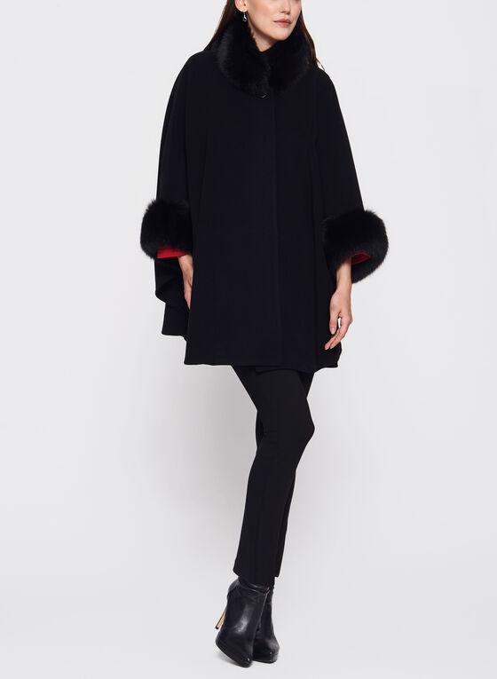 Mallia - Fur Trimmed Cashmere Cape, Black