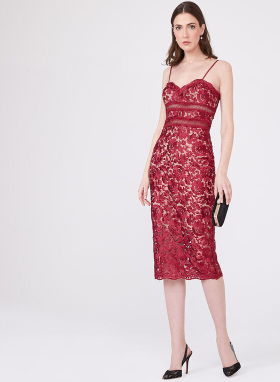 BA Nites - Floral Lace Contrast Dress, Red, hi-res