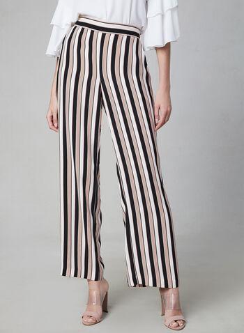 Pantalon rayé à jambe large, Rouge, hi-res,  pantalon, palazzo, pull-on, rayé, jambe large, poches, printemps 2019
